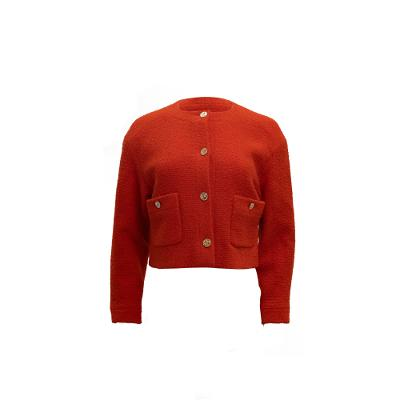 Classic Blood Orange Jacket with Coco Buttons